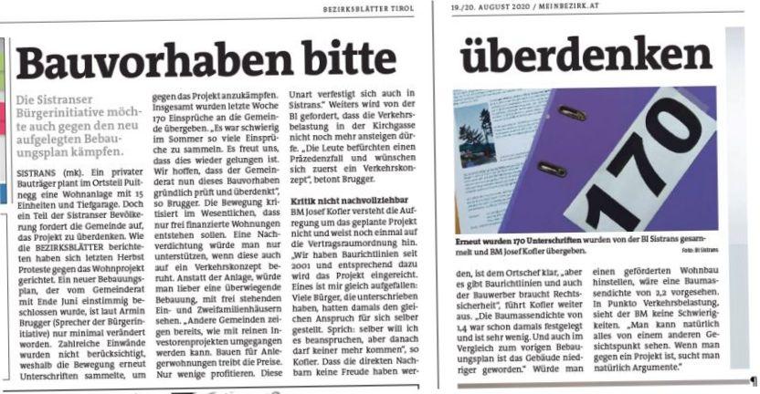 Beitrag Bezirksblatt über Bürgerinitiative Sistrans